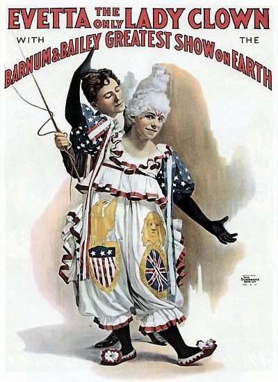 Barnum Bailey Evetta The Only Lady Clown Circus Poster