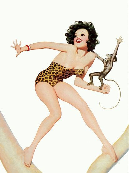 Pin Up Poster Brunette With A Tarzan Bathing