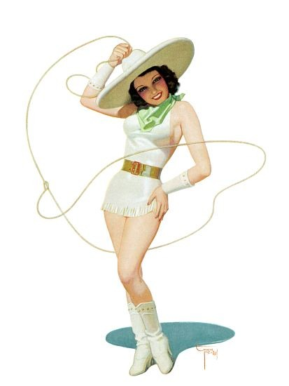 Pin Up Girl Brunette Cowgirl With A Lasso Poster