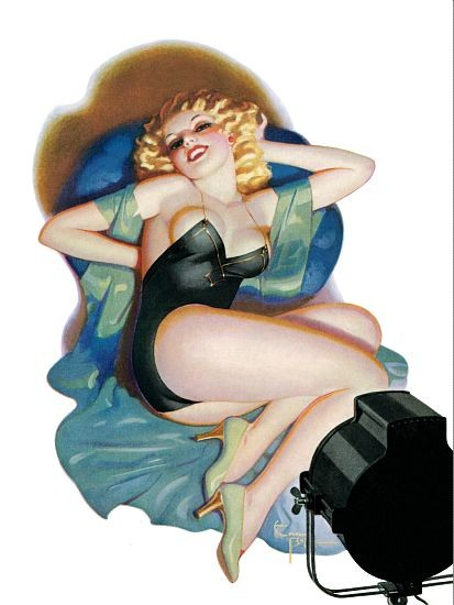 Pinup Girl Blonde Sitting In Front Of A Poster