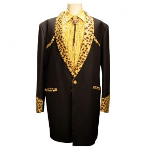 Drape Jacket Black / Gold Ocelot