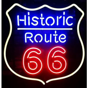 Historic Route 66 Neon Sign Gele rand