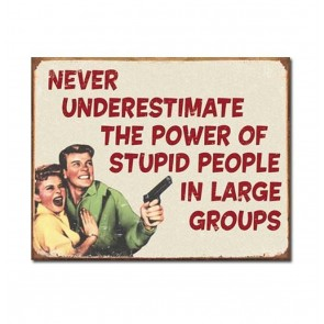 Never Underestimate the Power of Stupid People in Large Groups Metalen Bord