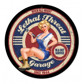 Lethal Threat Garage Pin-Up Zwaar Metalen Bord