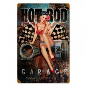 Hot Rod Garage Pin Up by Ralph Burch Zwaar Metalen Bord