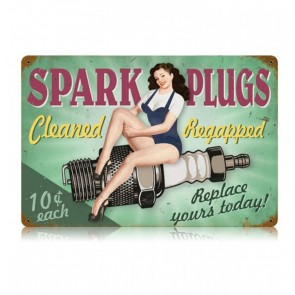 Spark Plugs Cleaned Regapped Pin-Up Zwaar Metalen Bord