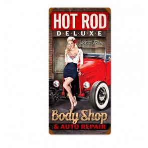 Hot Rod Deluxe Body Shop Pin Up Zwaar Metalen Bord
