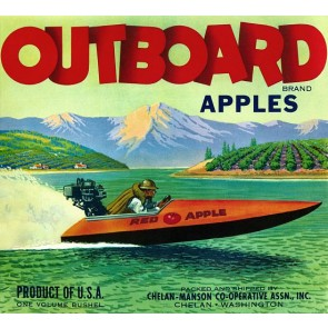 Outboard brand Apples label poster
