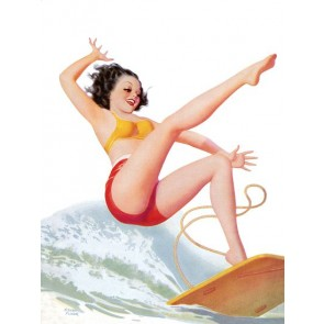 Pin Up Art Brunette Falling Off A Surf Board Poster