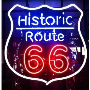 Historic Route 66 Neon Sign Witte rand
