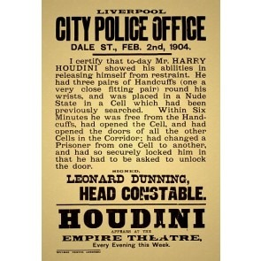 Houdini Appears At The Empire Theatre Magic Poster