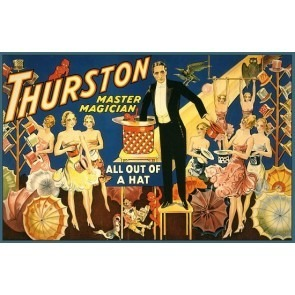 Thurston  Magician All Out Of A Hat Magic Poster