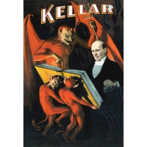 KellarThe Magician Red Devils Holidng Book Magic Poster
