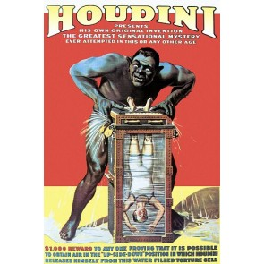 Houdini In The Water Torture Cell Magic Poster