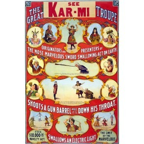 Kar-Mi The Great Victorina Troupe Magic Poster